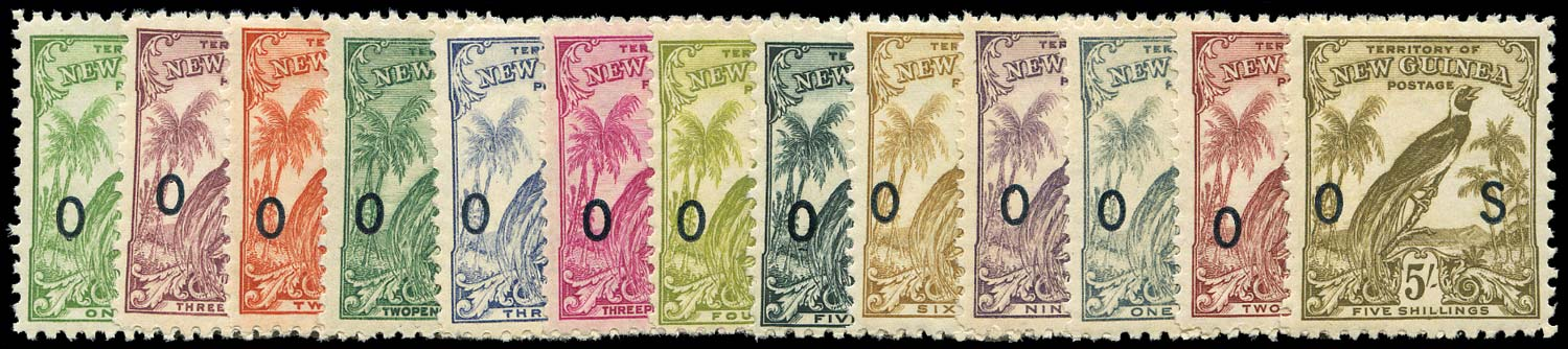 NEW GUINEA 1932  SGO42/54 Official Bird of Paradise set without dates