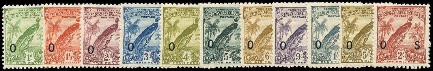 NEW GUINEA 1931  SGO31/41 Official Bird of Paradise set with dates