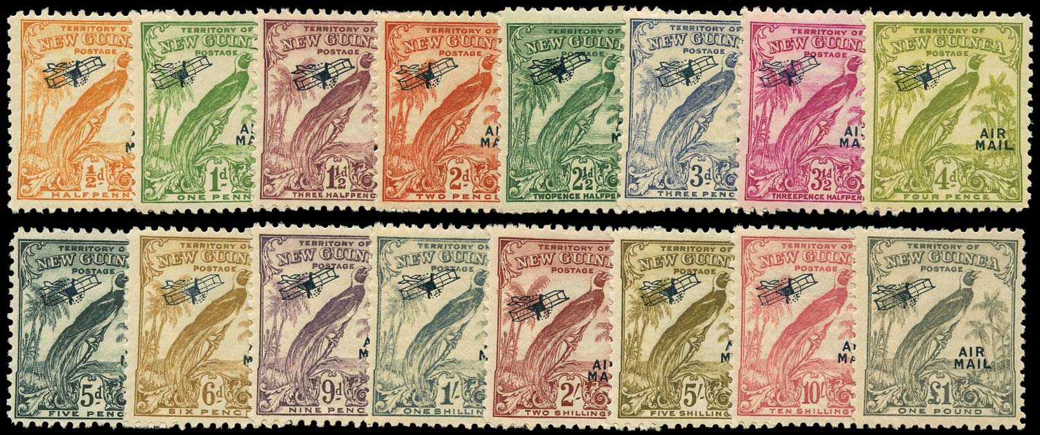NEW GUINEA 1932  SG190/203 Mint Bird of Paradise airmail set without dates