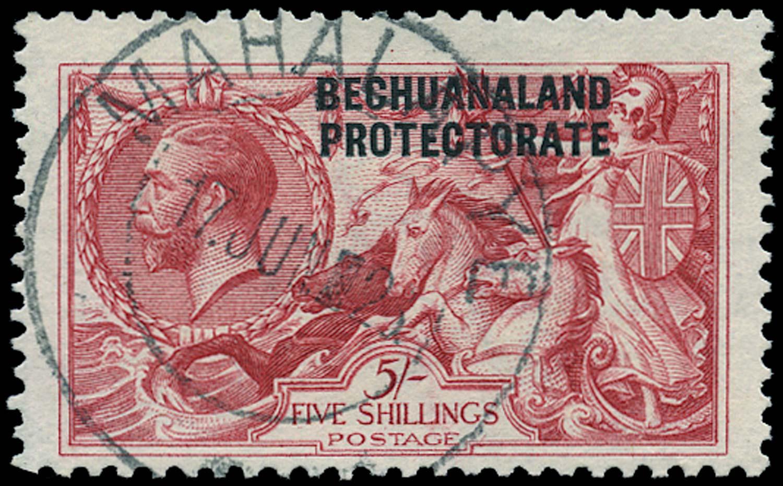 BECHUANALAND 1913  SG89 Used 5s rose-carmine Bradbury Wilkinson printing