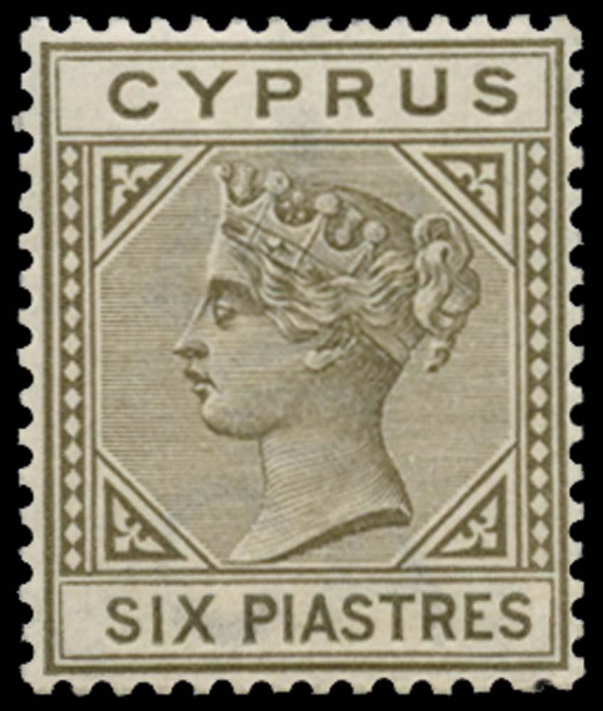 CYPRUS 1892  SG36 Mint 6pi olive-grey die II unmounted