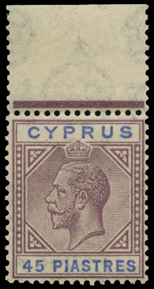 CYPRUS 1921  SG99 Mint 45pi Script watermark unmounted