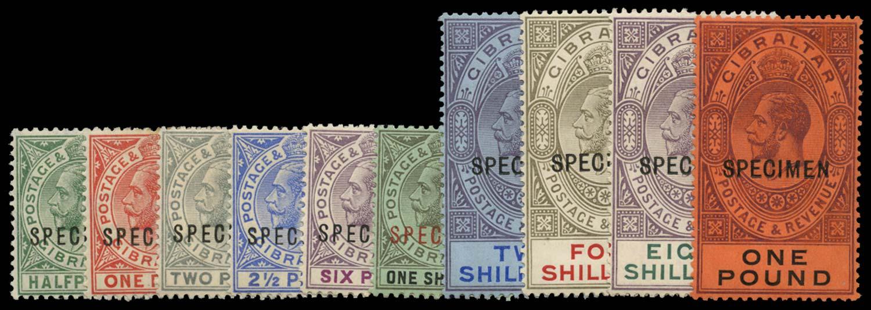 GIBRALTAR 1912  SG76s/85s Specimen watermark MCA