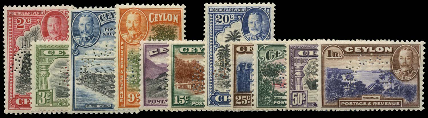 CEYLON 1935  SG368s/78s Specimen Pictorial set of 11 unmounted