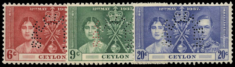 CEYLON 1937  SG383s/5s Specimen Coronation set unmounted