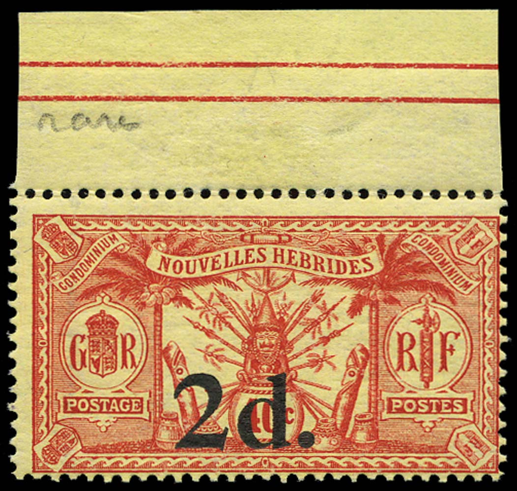 NEW HEBRIDES 1920  SG35 Mint 2d on 40c French issue no watermark