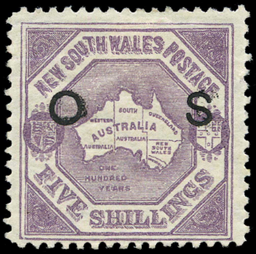 NEW SOUTH WALES 1890  SGO49b Official 5s Map perf 12
