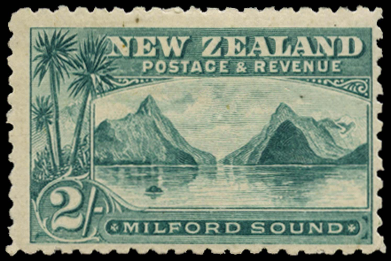 NEW ZEALAND 1899  SG269 Mint 2s blue-green Milford Sound perf 11