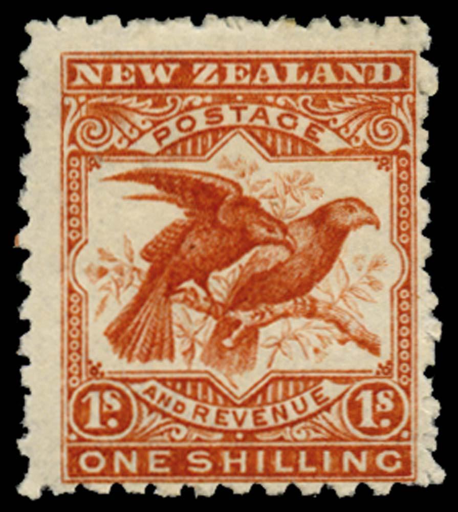 NEW ZEALAND 1902  SG315 Mint 1s brown-red Kea & Kaka