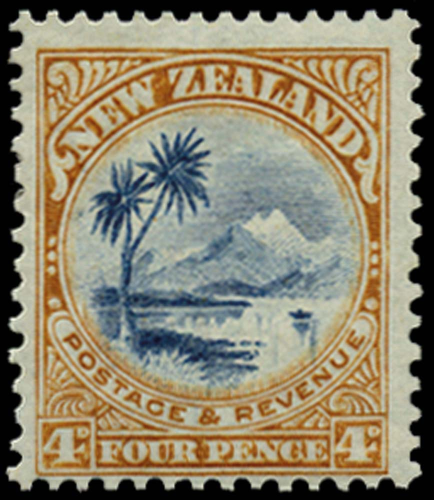 NEW ZEALAND 1907  SG379 Mint 4d blue and yellow-brown on bluish