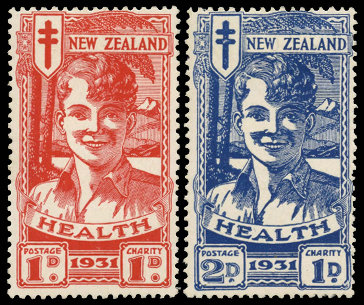 NEW ZEALAND 1931  SG546/7 Mint Smiling Boy Health stamps pair