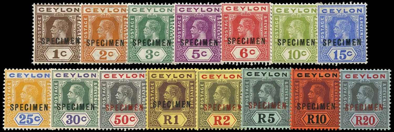 CEYLON 1912  SG301s/19s Specimen