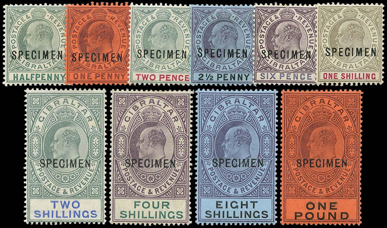 GIBRALTAR 1903  SG46s/55s Specimen