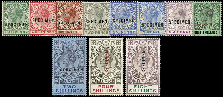 GIBRALTAR 1921  SG89s/101s Specimen