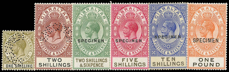 GIBRALTAR 1925  SG102s/7s Specimen