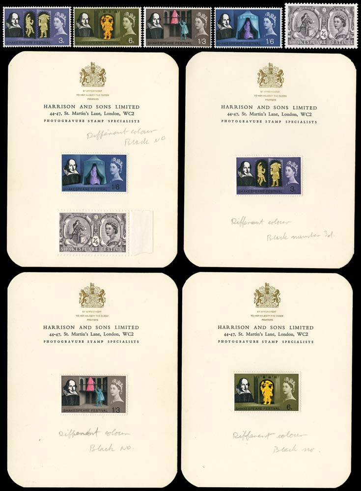 GB 1964  SG646/50var Essay Set on four Harrison cards