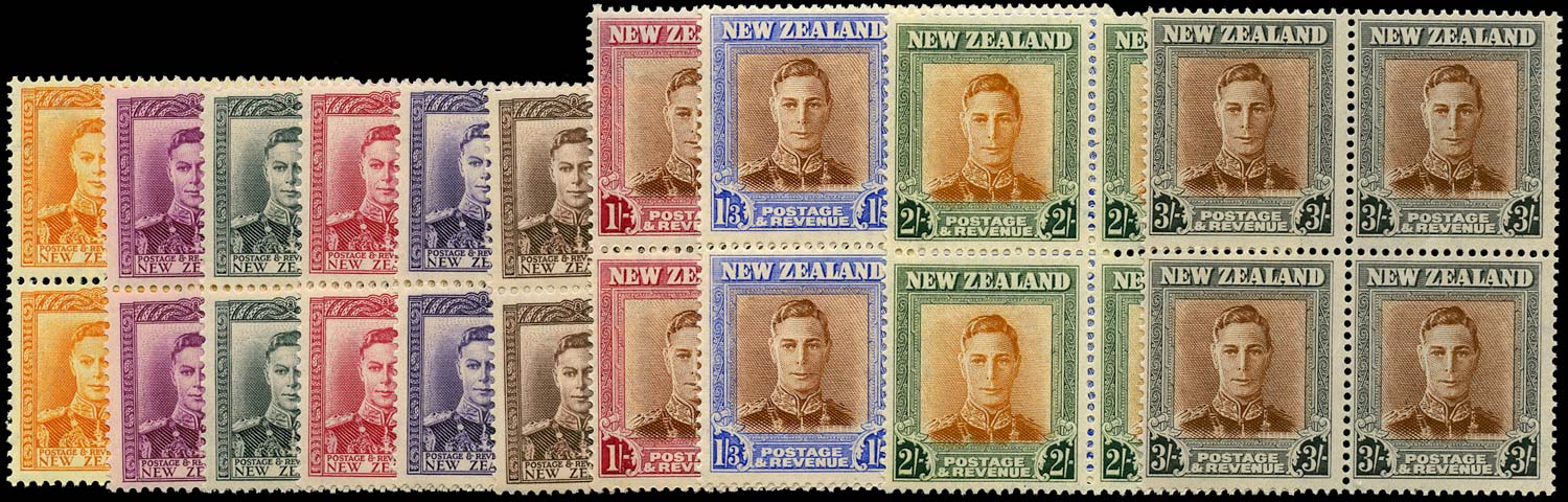 NEW ZEALAND 1947  SG680/89 Mint KGVI set of 10 to 3s unmounted