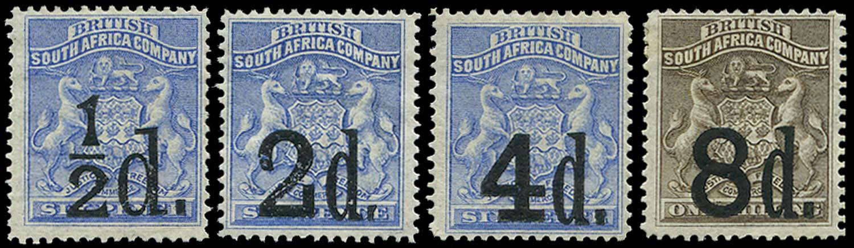RHODESIA 1892  SG14/17 Mint
