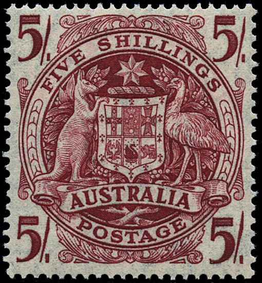 AUSTRALIA 1948  SG224ab Mint 5s claret Arms thin paper unmounted