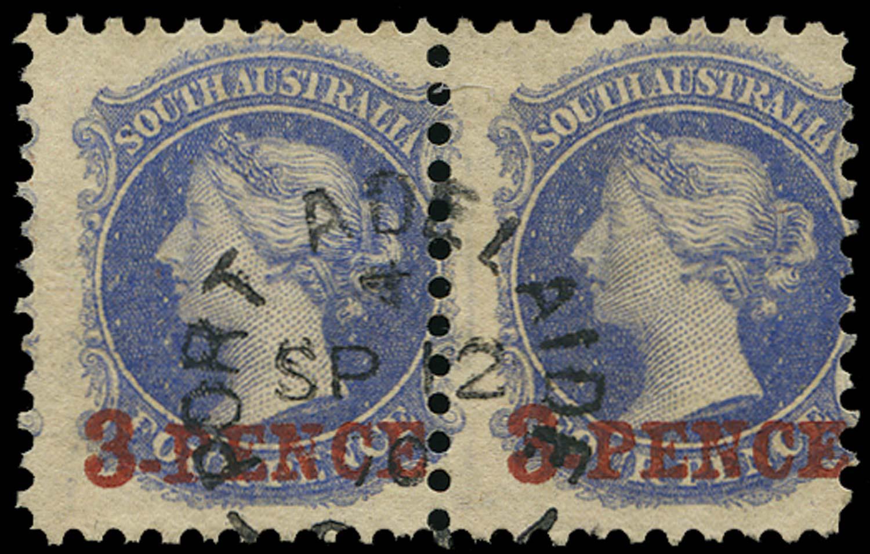 SOUTH AUSTRALIA 1870  SG91 Used 3d on 4d dull ultramarine perf 10