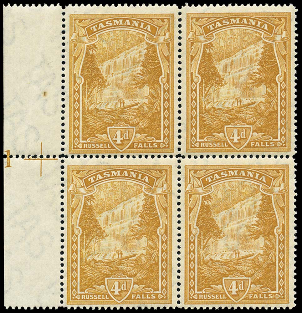 TASMANIA 1899  SG234 Mint 4d pictorial plate 1 block of 4