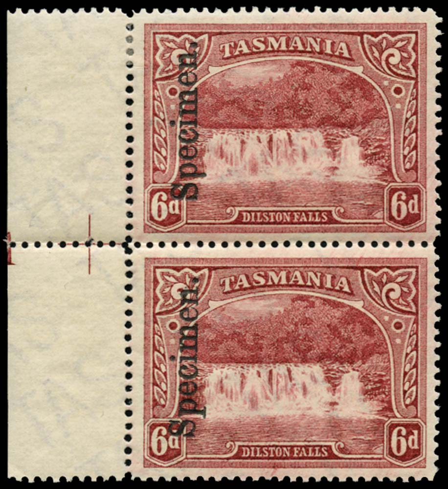TASMANIA 1899  SG236 Specimen 6d pictorial vert pair with plate number