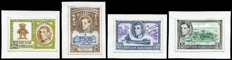 BRITISH HONDURAS 1938  SG150/61 Essay Hand Painted Tender Essays