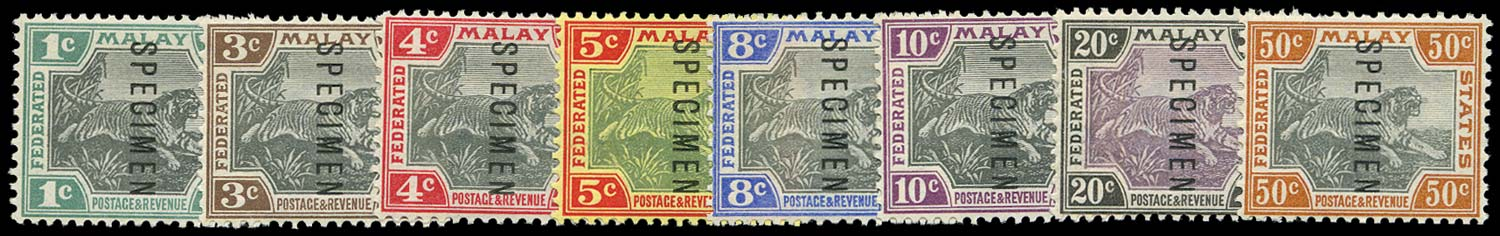 MALAYA - F.M.S. 1900  SG15s/22s Specimen Tiger set of 8 to 50c
