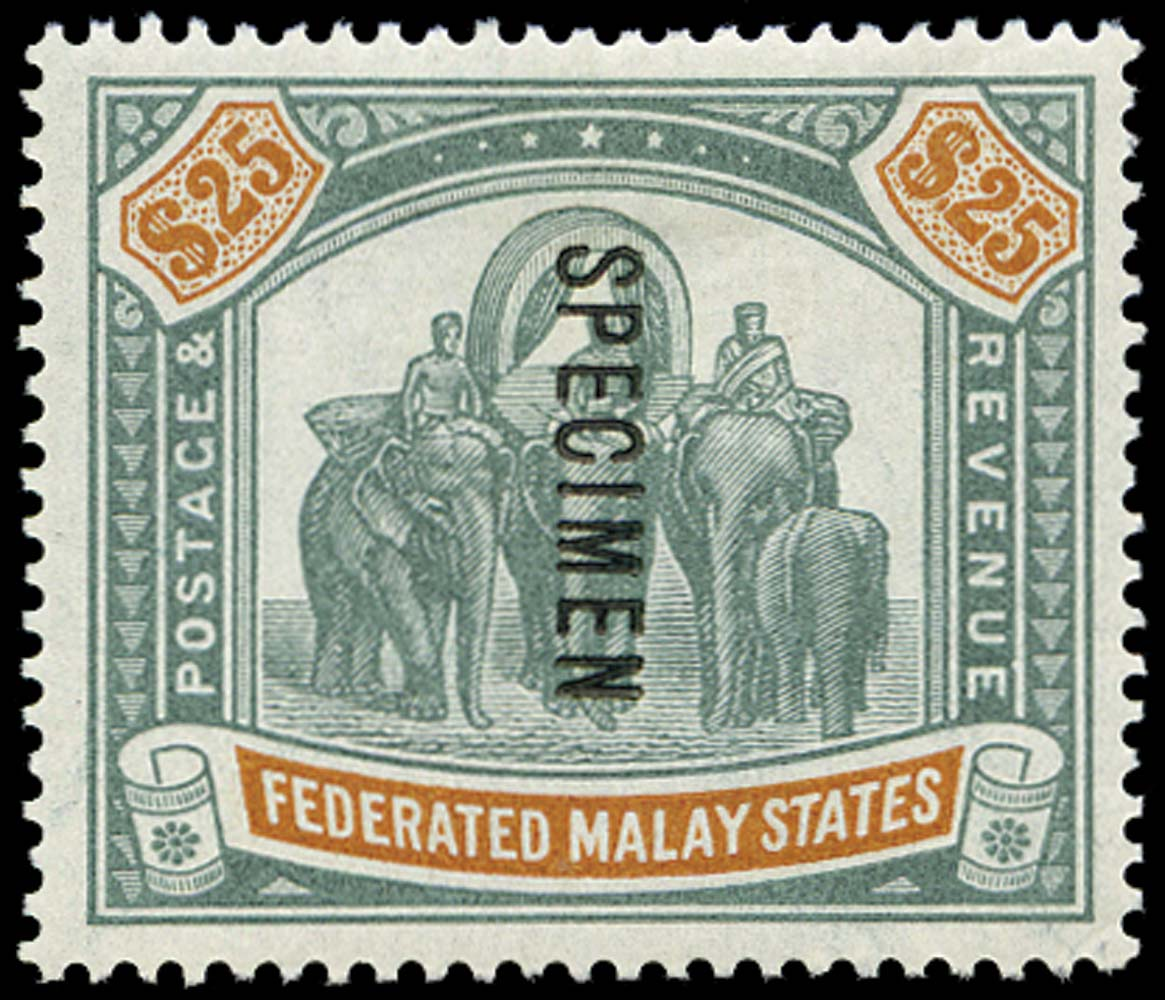 MALAYA - F.M.S. 1900  SG26s Specimen Elephants $25 green and orange