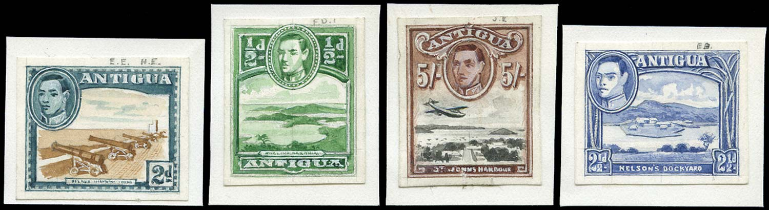 ANTIGUA 1938  SG98/109 Essay Hand Painted Essays