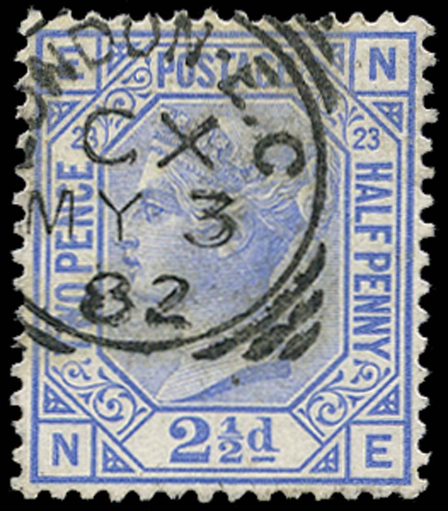GB 1881  SG157 Pl.23 Used London E.C. squared circle