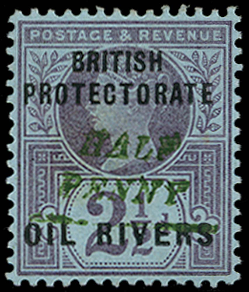 NIGER COAST 1893  SG35 Mint HALF PENNY type 10 surcharge in green