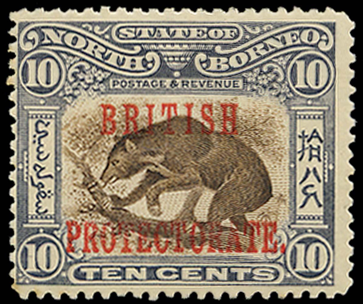 NORTH BORNEO 1901  SG134 Mint 10c Sun Bear perf 13½-14