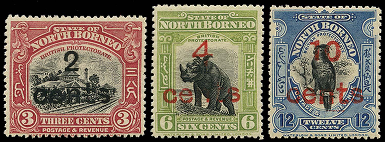 NORTH BORNEO 1916  SG186/88 Mint Surcharge set of 3