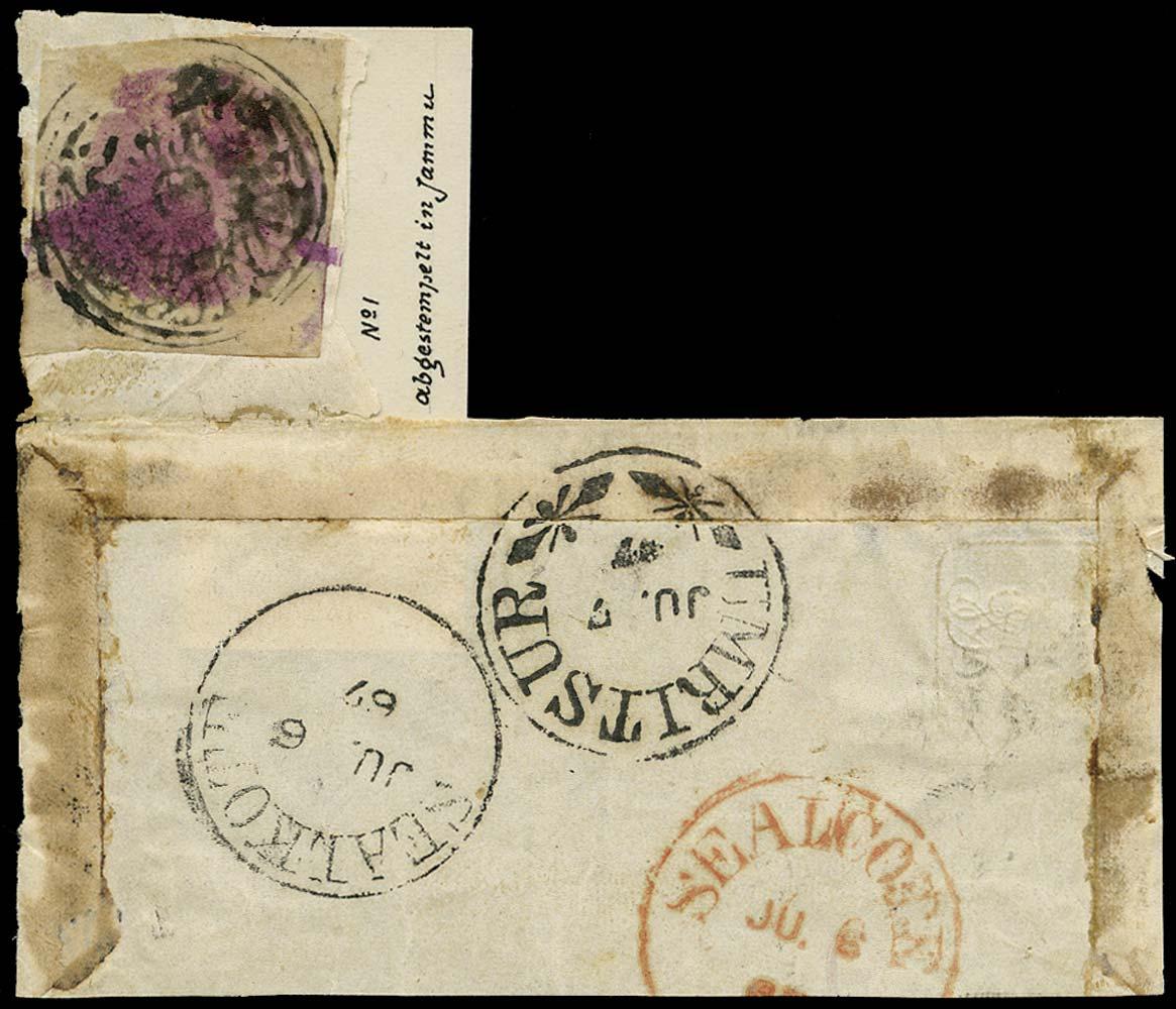 I.F.S. JAMMU&KASHMIR 1867  SG1 Cover
