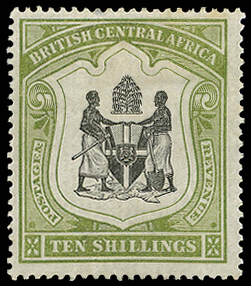 NYASALAND 1897  SG50a Mint 10s black and olive-green