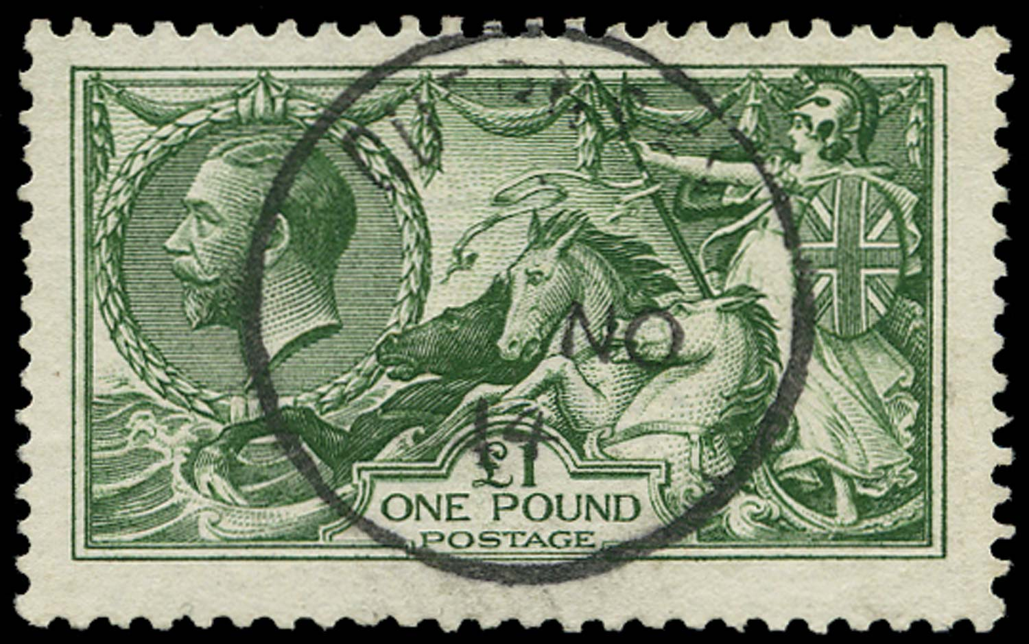GB 1913  SG403var Used Deep green, Guernsey cds example