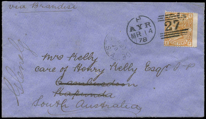 GB 1878  SG156 Cover to Cambusdoon, Kapunda, South Australia