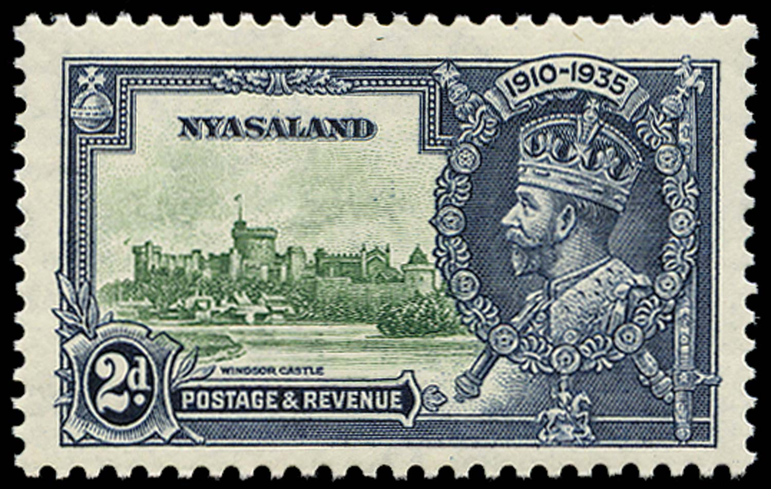 NYASALAND 1935  SG124m Mint Silver Jubilee 2d Bird by Turret