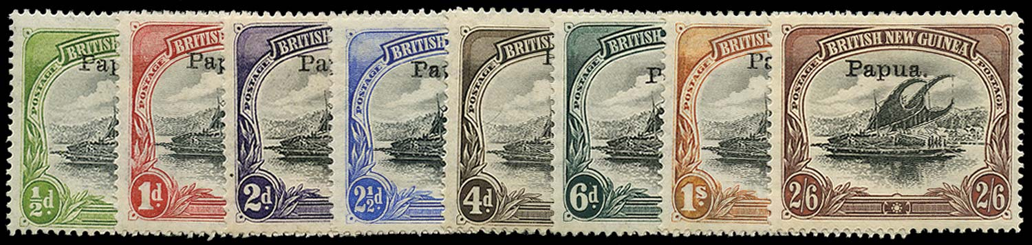 PAPUA 1907  SG35a, 37, 38/44 Mint basic set of 8 type 4 overprint