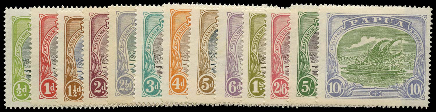 PAPUA 1916  SG93/105 Mint Lakatoi bi-coloured set of 13 to 10s