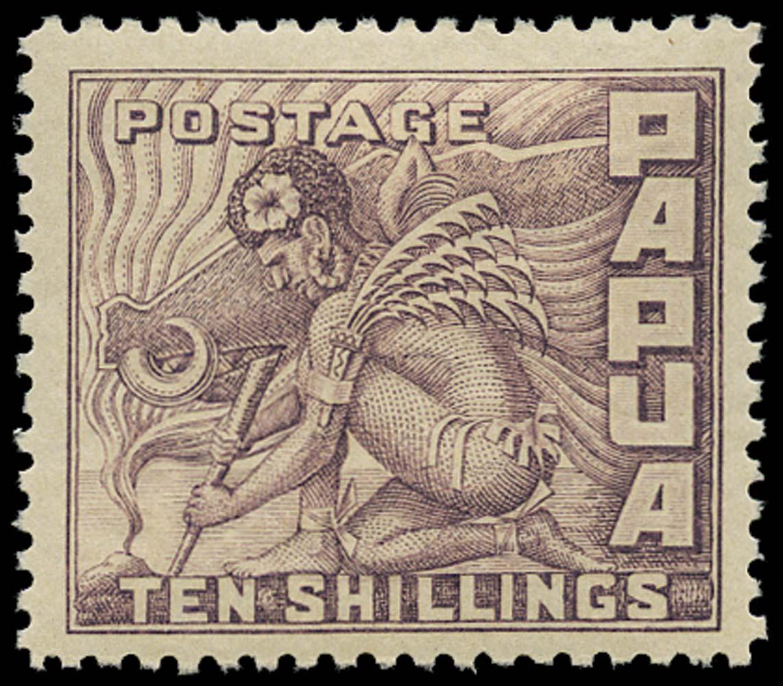 PAPUA 1932  SG144 Mint 10s Lighting a fire