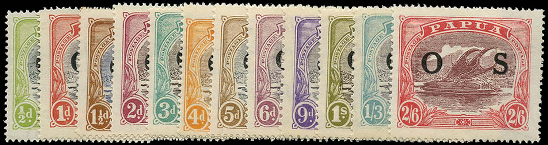 PAPUA 1931  SGO55/66 Official Lakatoi set of 12 to 2s6d