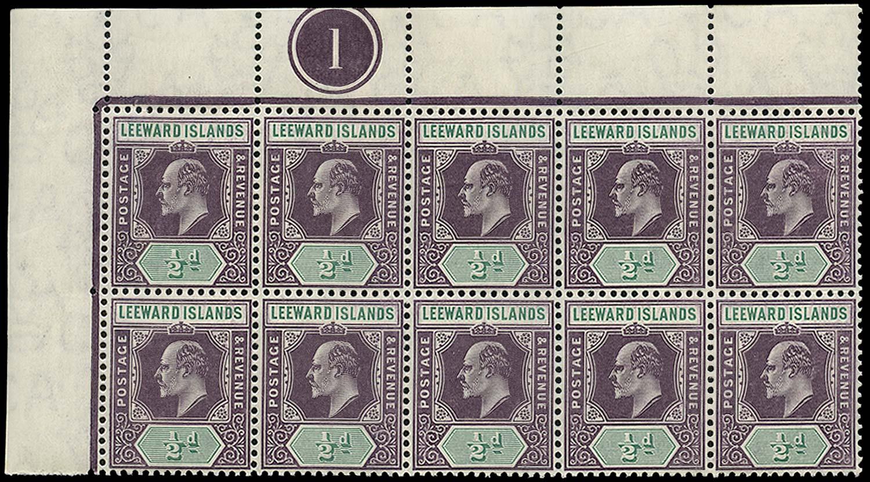 LEEWARD ISLANDS 1905  SG29a/(ab) Mint ½d Spaven flaw