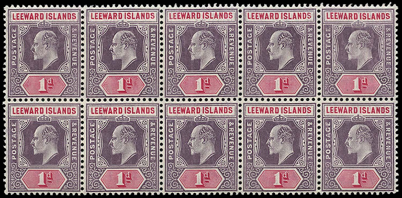 LEEWARD ISLANDS 1905  SG30/(a) Mint 1d Spaven flaw