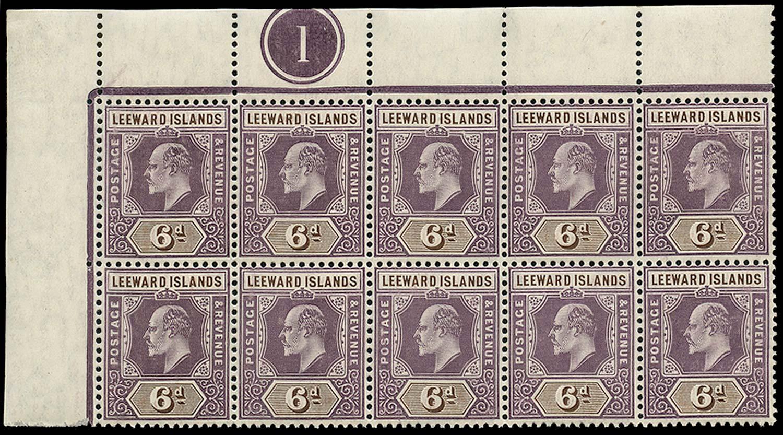 LEEWARD ISLANDS 1905  SG34/(a) Mint 6d Spaven flaw