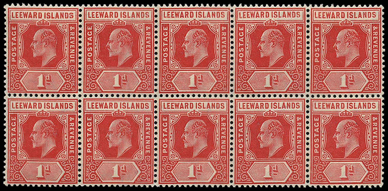 LEEWARD ISLANDS 1907  SG38/(aa) Mint 1d Spaven flaw
