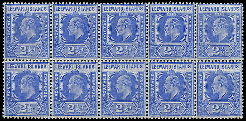 LEEWARD ISLANDS 1907  SG40/(b) Mint 2½d Spaven flaw