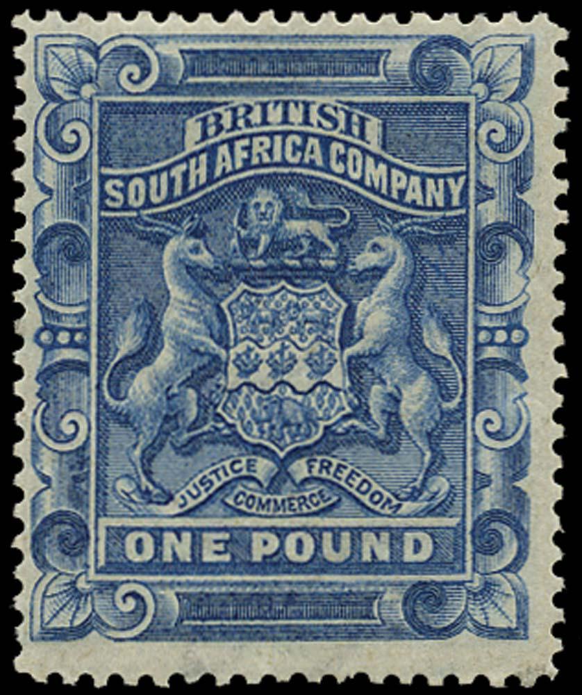 RHODESIA 1892  SG10 Mint £1 deep blue