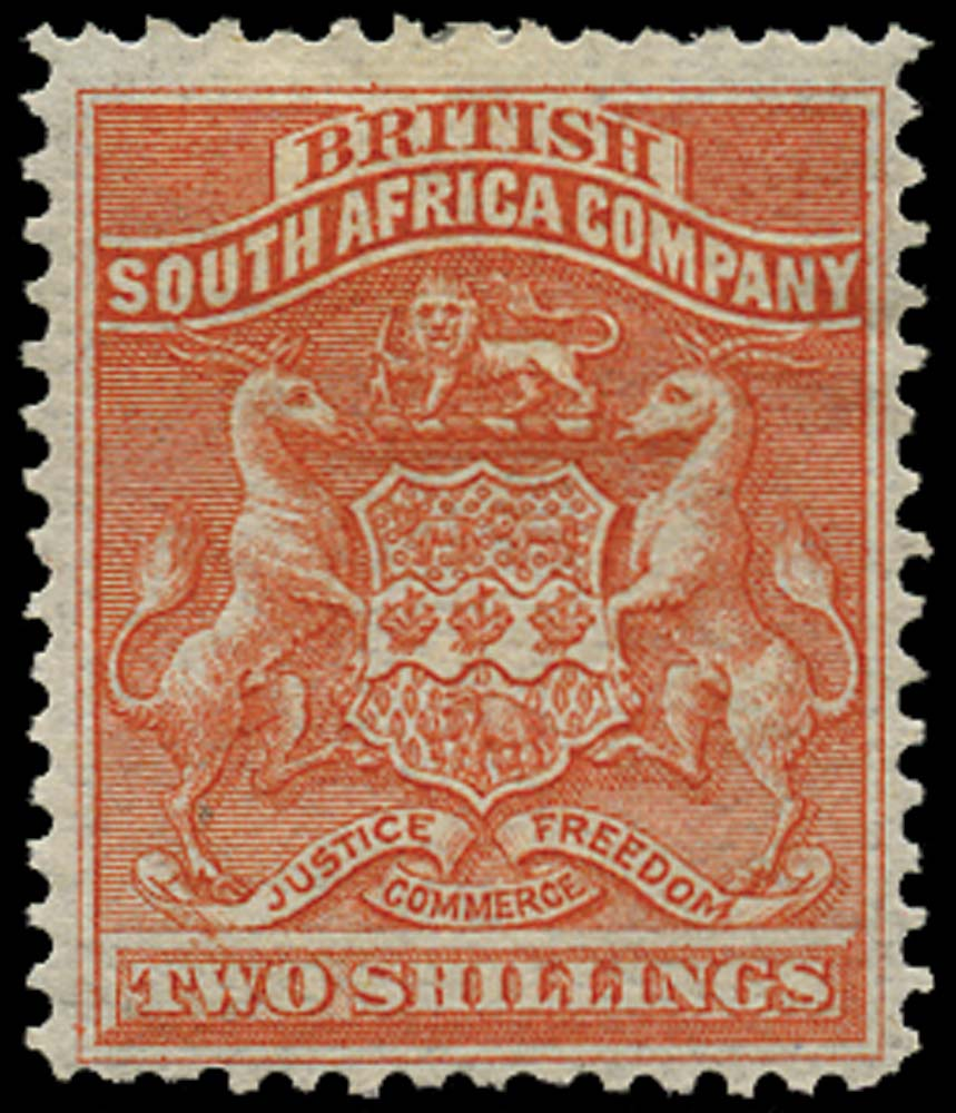 RHODESIA 1892  SG5 Mint 5s vermilion